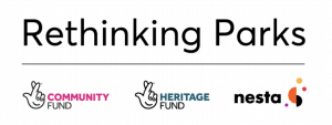 Rethinking Parks graphic - National Lottery Community and Heritage Fund. NESTA Logo.