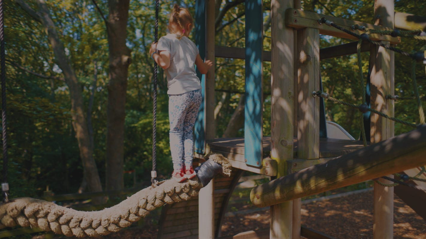 Photograph of child enjoying playground at Flatts Lane Woodland Country Park