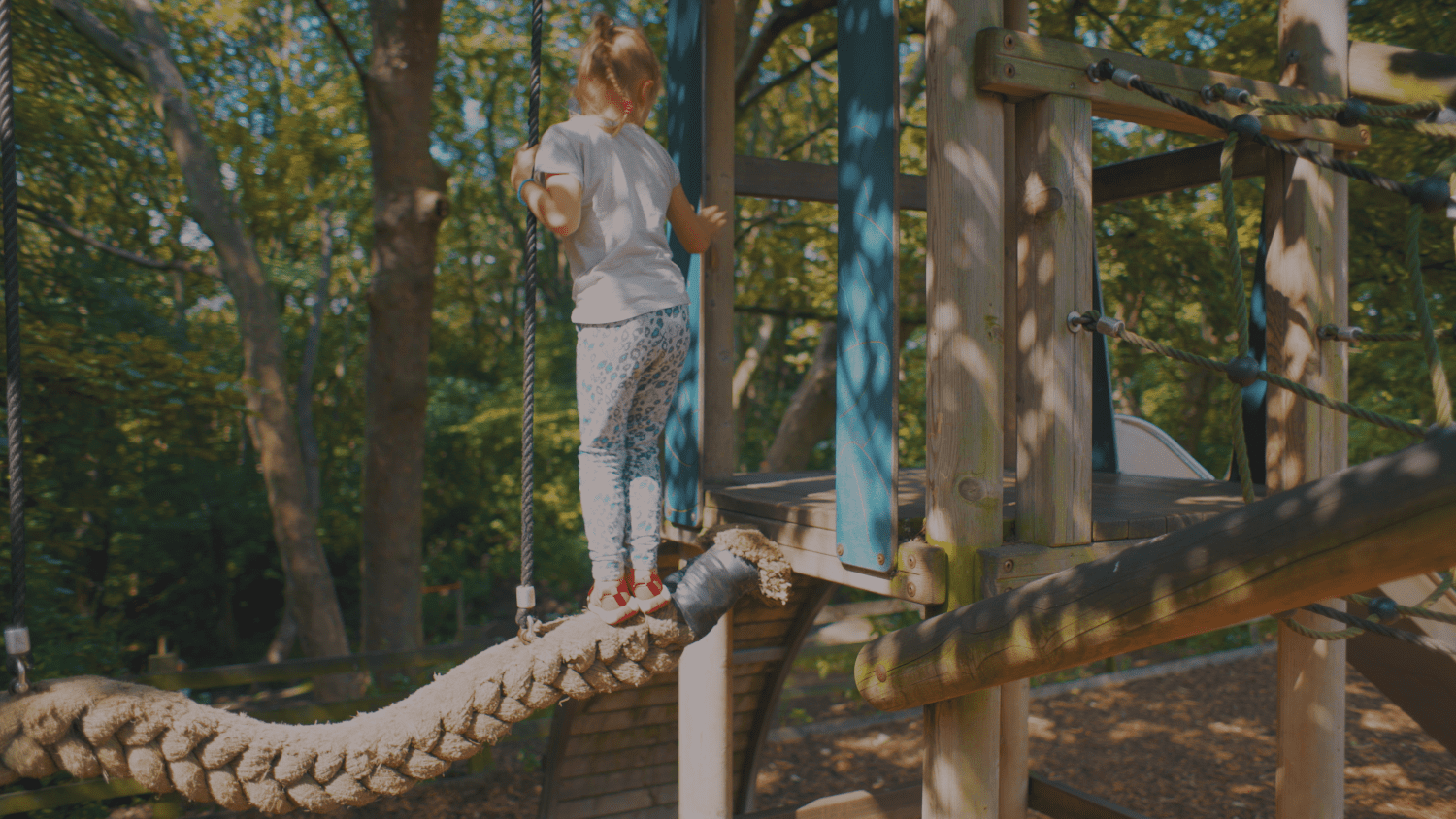 Photograph of a child playing on the playground at Flatts Lane Woodland Country Park